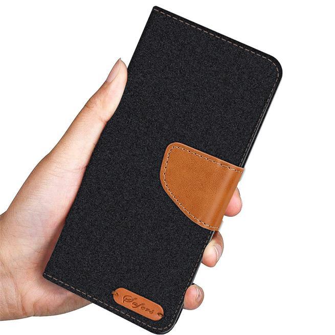 Textil Klapphülle für Huawei P10 Plus - Hülle im Jeans Stoff Design Wallet Tasche in Schwarz