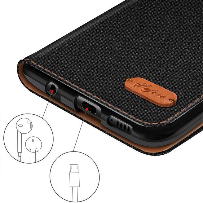 Textil Klapphülle für Huawei P10 - Hülle im Jeans Stoff Design Wallet Tasche in Schwarz