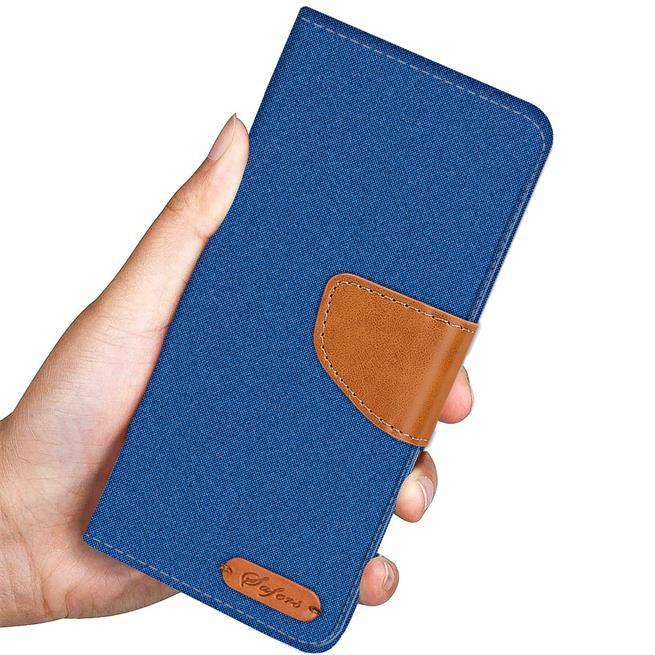 Textil Klapphülle für Huawei P20 Lite - Hülle im Jeans Stoff Design Wallet Tasche in Blau