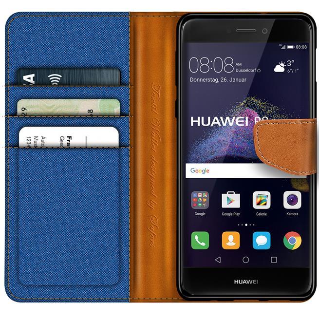 Textil Klapphülle für Huawei P8 Lite 2017 - Hülle im Jeans Stoff Design Wallet Tasche in Blau