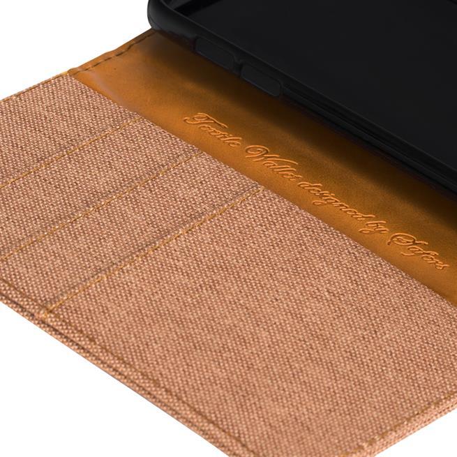Textil Klapphülle für Huawei P8 Lite 2017 - Hülle im Jeans Stoff Design Wallet Tasche in Braun