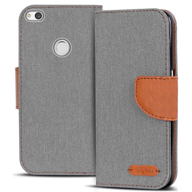 Textil Klapphülle für Huawei P8 Lite 2017 - Hülle im Jeans Stoff Design Wallet Tasche in Grau