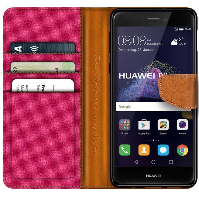 Textil Klapphülle für Huawei P8 Lite 2017 - Hülle im Jeans Stoff Design Wallet Tasche in Pink