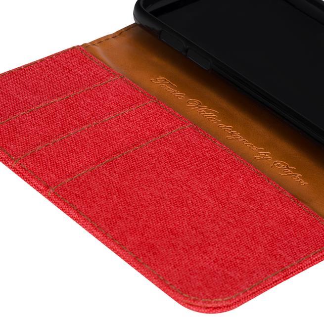 Textil Klapphülle für Huawei P8 Lite 2017 - Hülle im Jeans Stoff Design Wallet Tasche in Rot