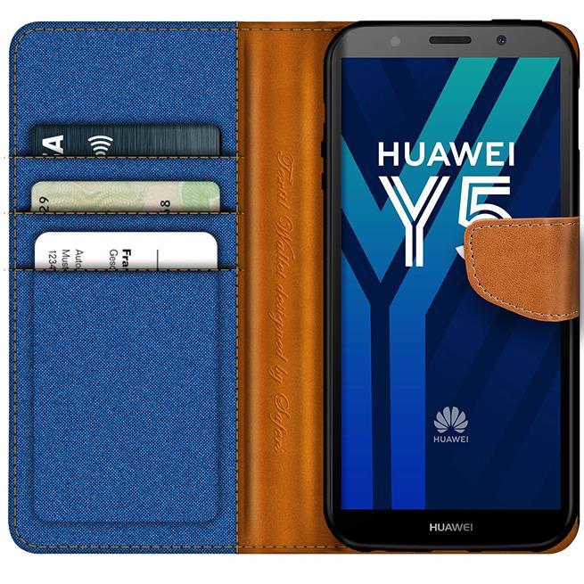 Book Wallet für Huawei Y5 2018 Schutzhülle im Jeans-Look aufstellbar