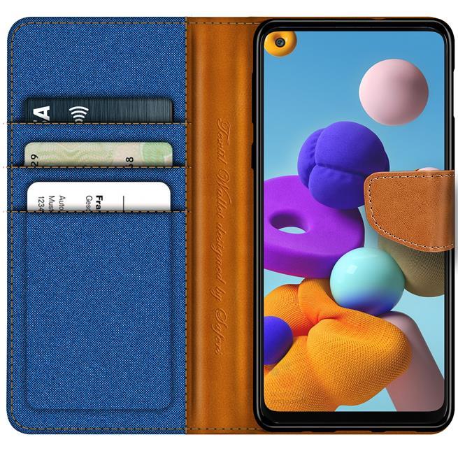 Handy Tasche für Samsung Galaxy A21s Hülle Wallet Jeans Case Schutzhülle