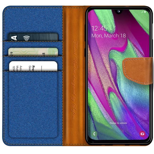 Book Wallet Hülle für Samsung Galaxy A40 Schutzhülle im Jeans-Look
