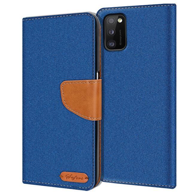 Handy Tasche für Samsung Galaxy A41 Hülle Wallet Jeans Case Schutzhülle