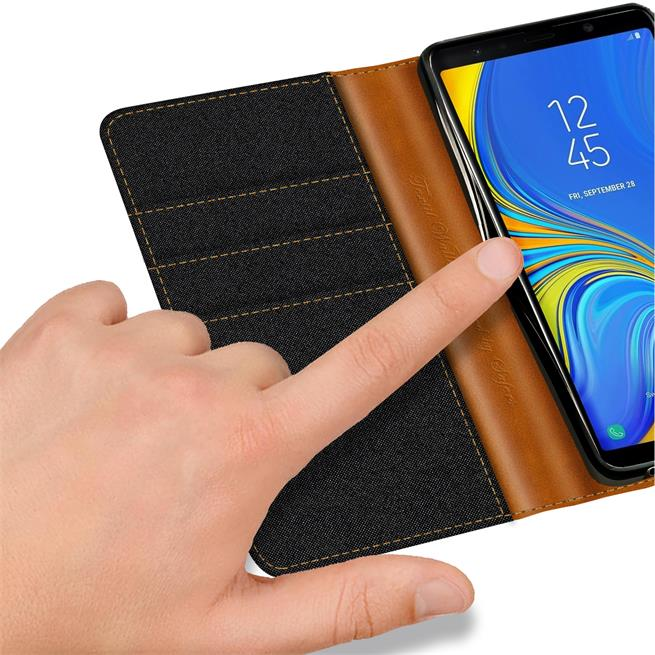 Book Wallet für Samsung Galaxy A7 2018 Schutzhülle im Jeans-Look