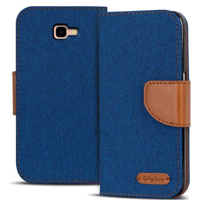 Book Wallet für Samsung Galaxy J4 Plus Schutzhülle im Jeans-Look