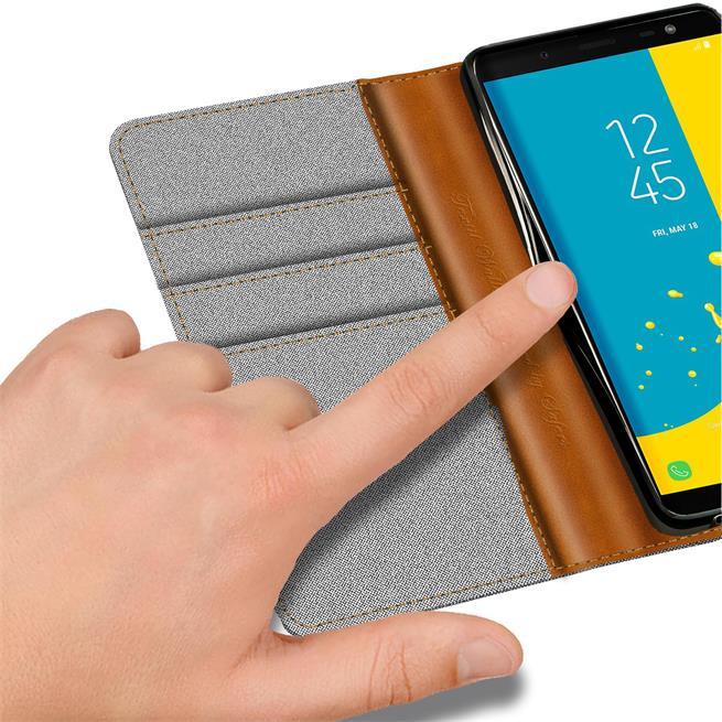 Book Wallet für Samsung Galaxy J6 2018 Schutzhülle im Jeans-Look