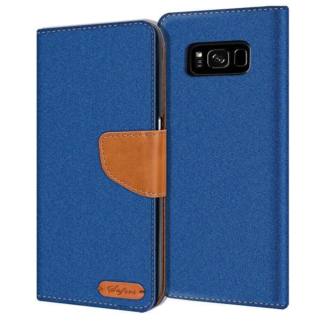 Textil Klapphülle für Samsung Galaxy S8 Plus - Hülle im Jeans Stoff Design Wallet Tasche in Blau