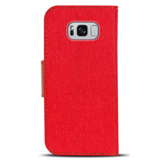 Textil Klapphülle für Samsung Galaxy S8 Plus - Hülle im Jeans Stoff Design Wallet Tasche in Rot