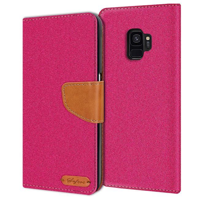 Book Wallet für Samsung Galaxy S9 Plus Schutzhülle im Jeans-Look
