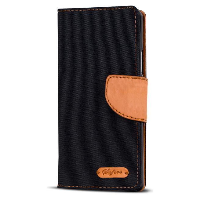 Wallet Tasche für Wiko Jerry 3 klappbare Schutzhülle im Jeans-Look