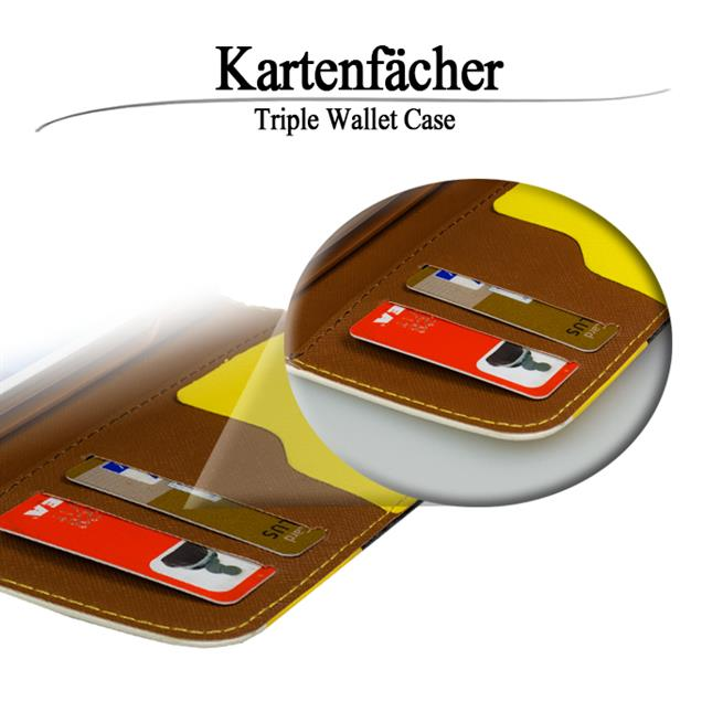 Triple Wallet Bookcase Hülle für Sony Xperia Z3 Compact Klapphülle in Gelb