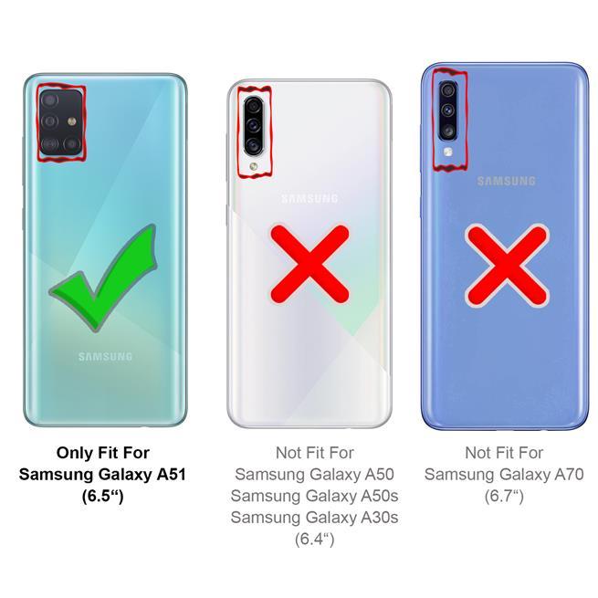 Handykette Blau + Hülle für Samsung Galaxy A51 Schutzhülle mit Trage Band Kordel Schnur Case zum umhängen
