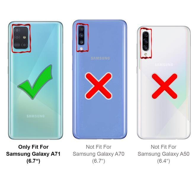 Handykette Silber/Weiss + Hülle für Samsung Galaxy A71 Schutzhülle mit Trage Band Kordel Schnur Case zum umhängen
