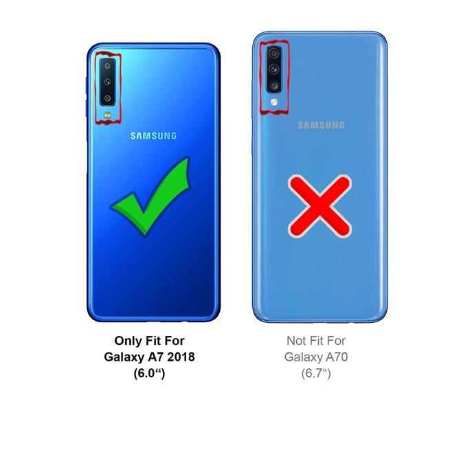 Handykette Silber/Weiss + Hülle für Samsung Galaxy A7 2018 Schutzhülle mit Trage Band Kordel Schnur Case zum umhängen