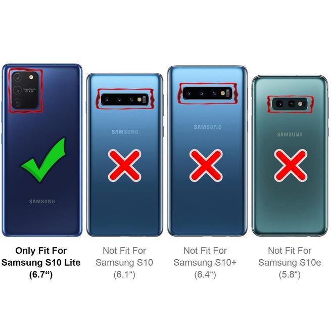 Handykette Schwarz/Weiss + Hülle für Samsung Galaxy S10 Lite Schutzhülle mit Trage Band Kordel Schnur Case zum umhängen