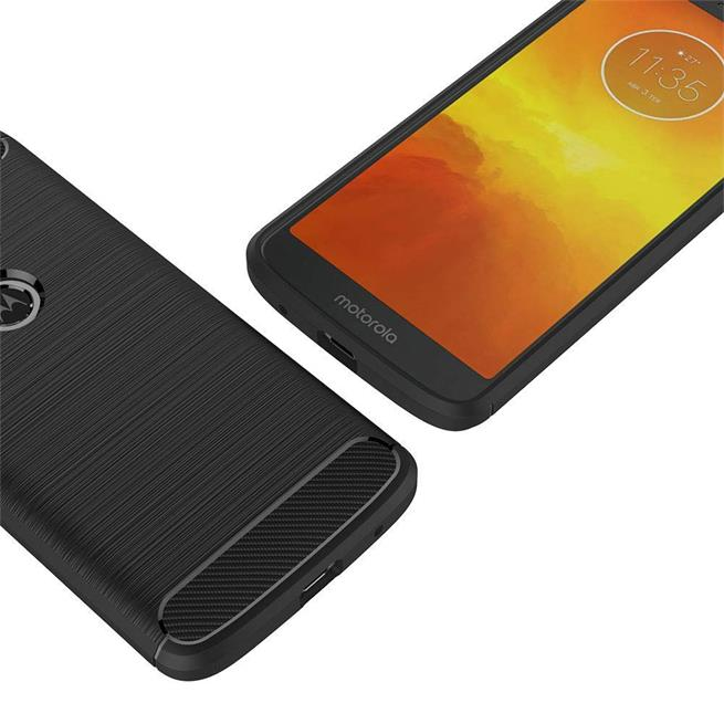 Handy Hülle für Motorola Moto G6 Play Backcover Case im Carbon Design