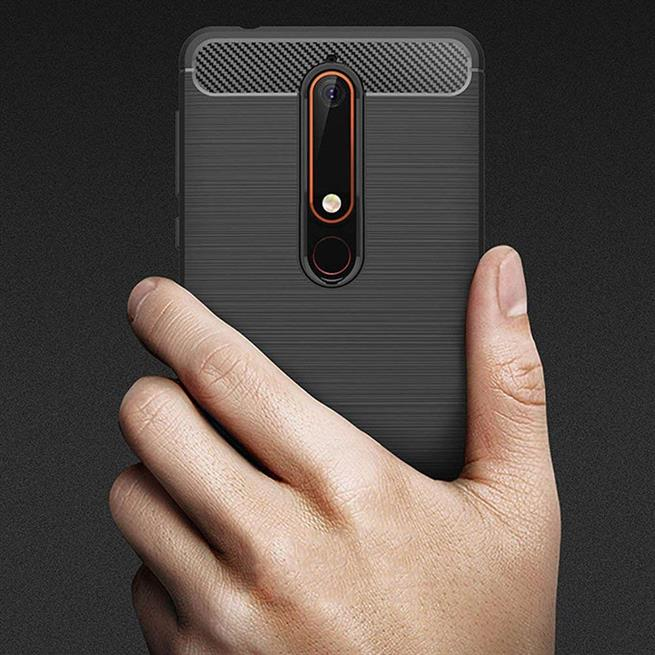 Handy Hülle für Nokia 6 2018 Backcover Case im Carbon Design
