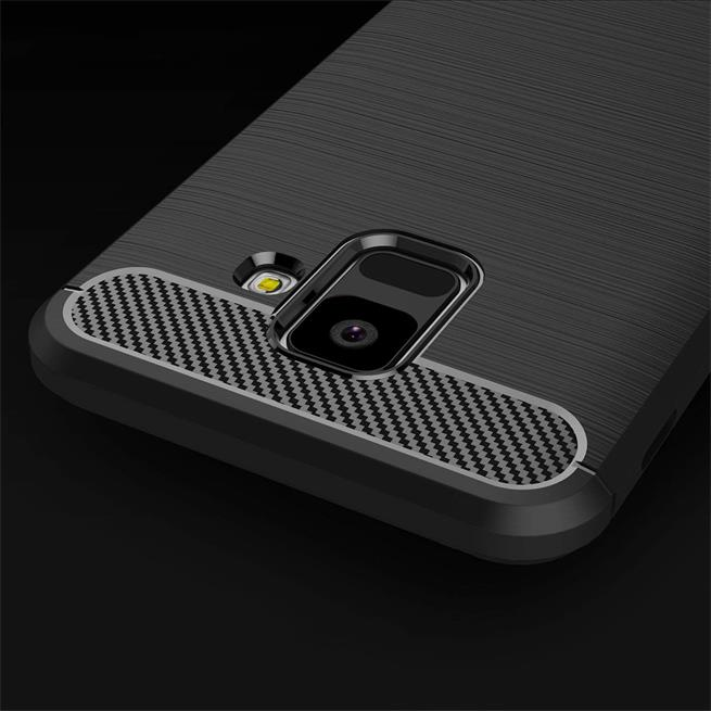Handy Hülle für Samsung Galaxy J6 2018 Backcover Case im Carbon Design