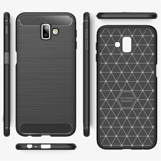 Handy Hülle für Samsung Galaxy J6 Plus Backcover Case im Carbon Design