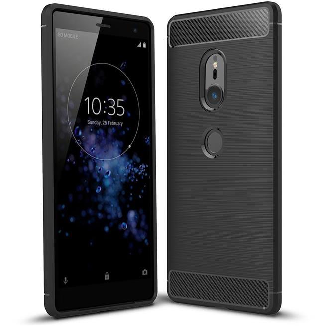 Handy Hülle für Sony Xperia XZ2 Backcover Case im Carbon Design