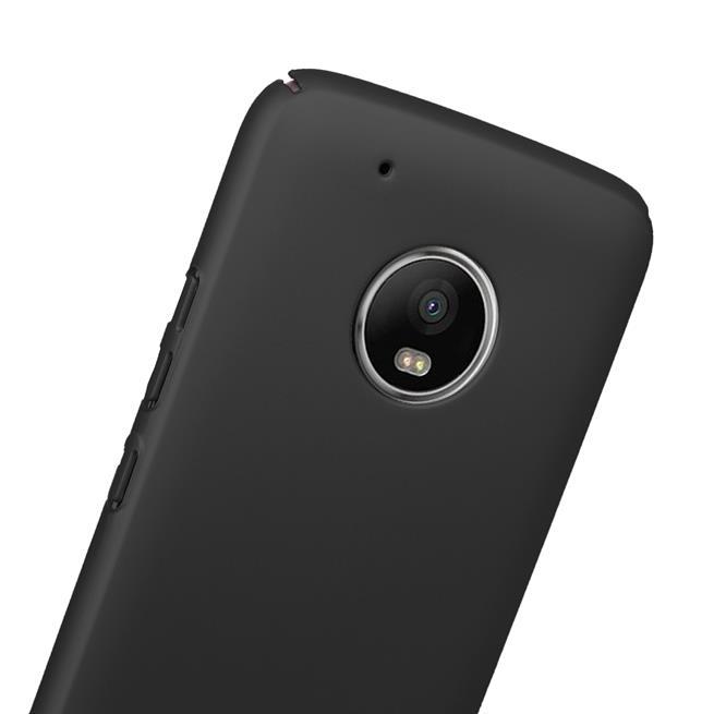 Classic Schutzhülle für Motorola Moto G5 Plus Hülle Slim Dünn Hardcase mit samtig-weicher Beschichtung in Schwarz