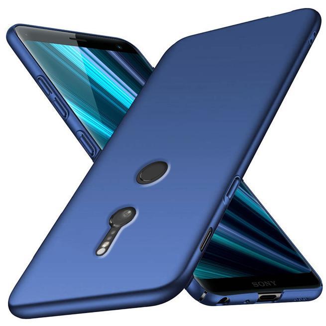 Classic Schutzhülle für Sony Xperia XA2 Hülle Slim Dünn Hardcase mit samtig-weicher Beschichtung in Blau