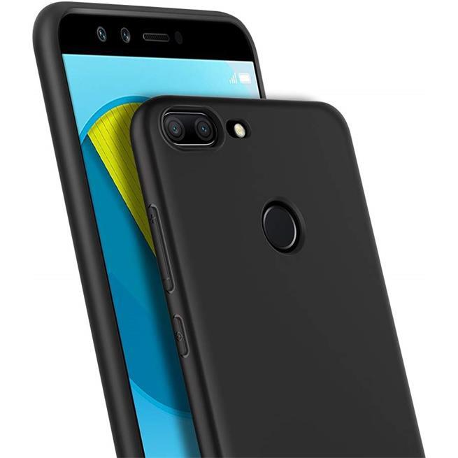 Silikon Hülle für Honor 9 Lite Schutzhülle im schlichten Schwarz Slim Handy Case