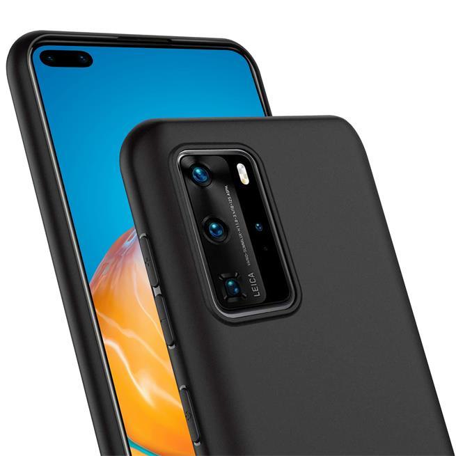 Silikon Hülle für Huawei P40 Pro Schutzhülle Matt Schwarz Backcover Handy Case