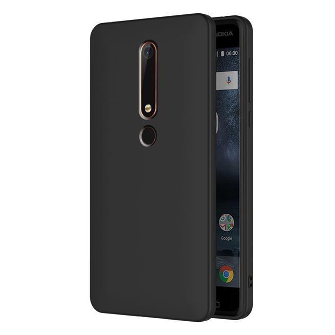 Silikon Hülle für Nokia 6 2018 Schutzhülle im schlichten Schwarz Slim Handy Case