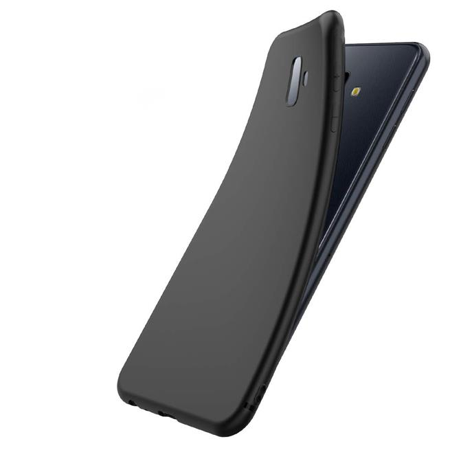 Silikon Hülle für Samsung Galaxy J6 Plus Matt Schwarz Backcover Handy Case
