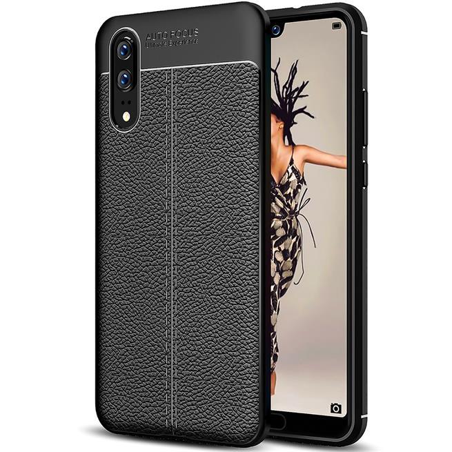 Handy Case für Huawei P20 Hülle in einer Leder-Optik Struktur Tasche in Schwarz