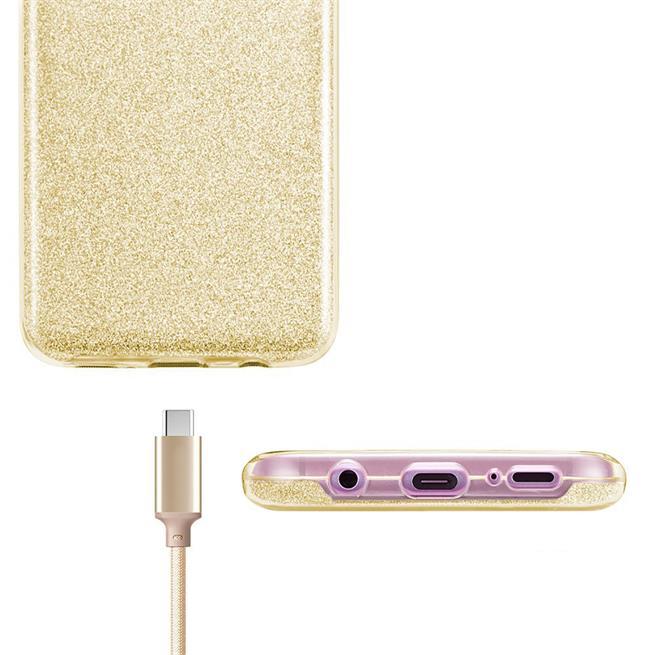 Handy Hülle Samsung Galaxy S9 Plus Schutz Hülle Silikon Cover Glitzer Case Slim Tasche in Gold