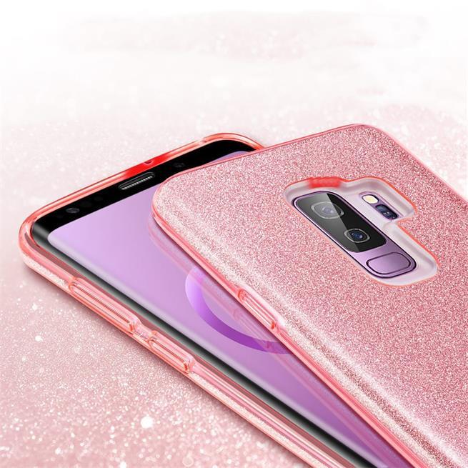 Handy Hülle Samsung Galaxy S9 Plus Schutz Hülle Silikon Cover Glitzer Case Slim Tasche in Rosegold