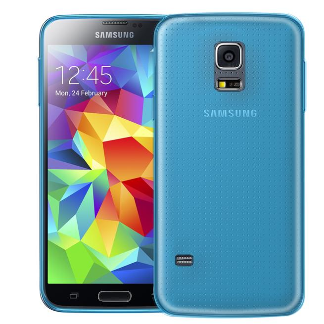 Schutzhülle für Samsung Galaxy S5 Mini Hülle Silikon Backcover Ultra-Clear Case im transparenten Design in Blau