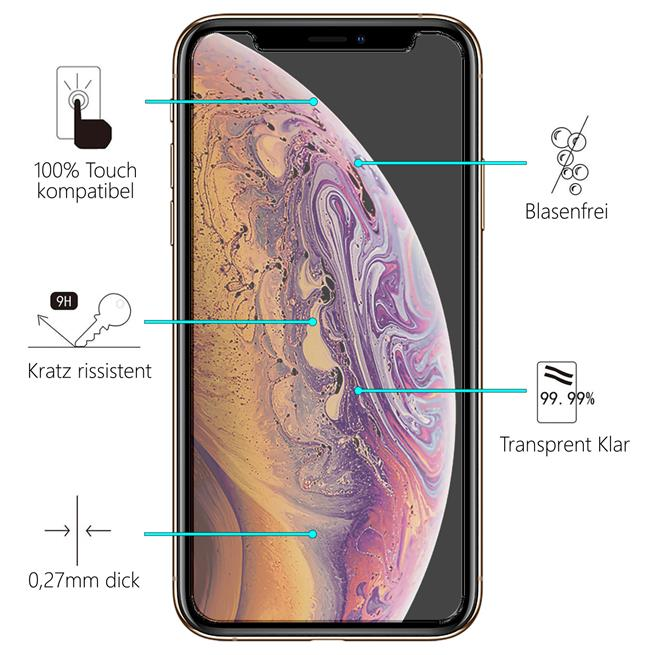 Glasfolie für Apple iPhone 11 Pro Schutzfolie Panzer Scheibe Folie 9H