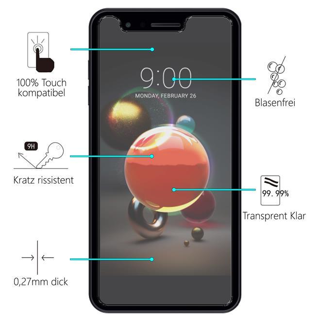Panzer Glas Folie für LG K8 2018 Handy Schutz Folie 9H Echtglas