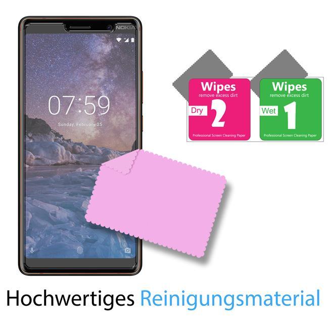Panzer Glas Folie für Nokia 7 Plus Handy Schutz Folie 9H Echtglas