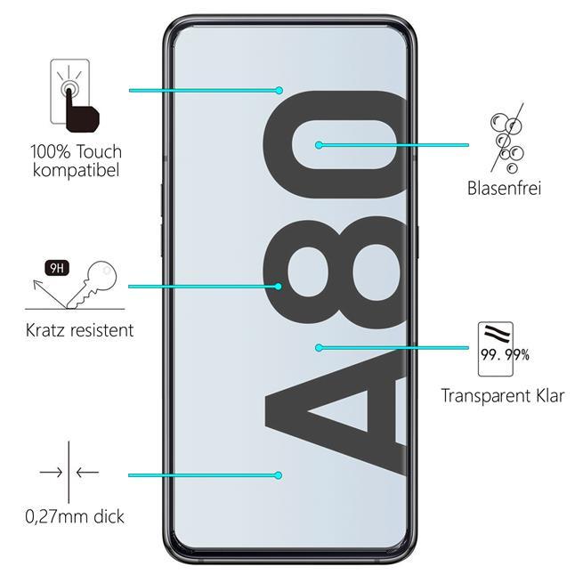 Glasfolie für Samsung Galaxy A80 Schutzfolie Panzerglas Scheibe Folie Display Schutzglas