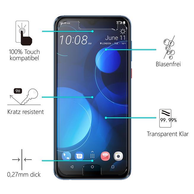 Panzerglas für HTC Desire 19+ Glas Folie Displayschutz Schutzfolie