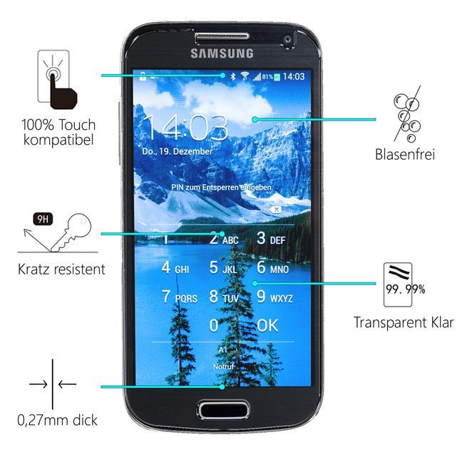 Panzerglas für Samsung Galaxy S4 Mini Glas Folie Displayschutz Schutzfolie