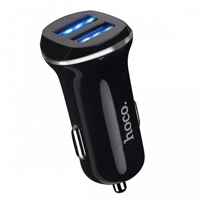 Hoco Dual 2x USB KFZ Ladegerät Z1 Set mit Lightning Kabel und Stecker Adapter 2.1A in Schwarz