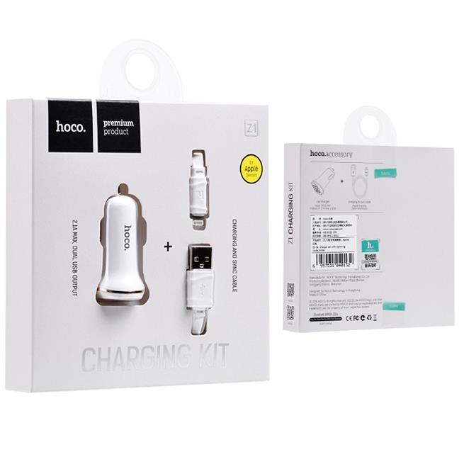 Hoco Dual 2x USB KFZ Ladegerät Z1 Set mit Lightning Kabel und Stecker Adapter 2.1A in Weiss