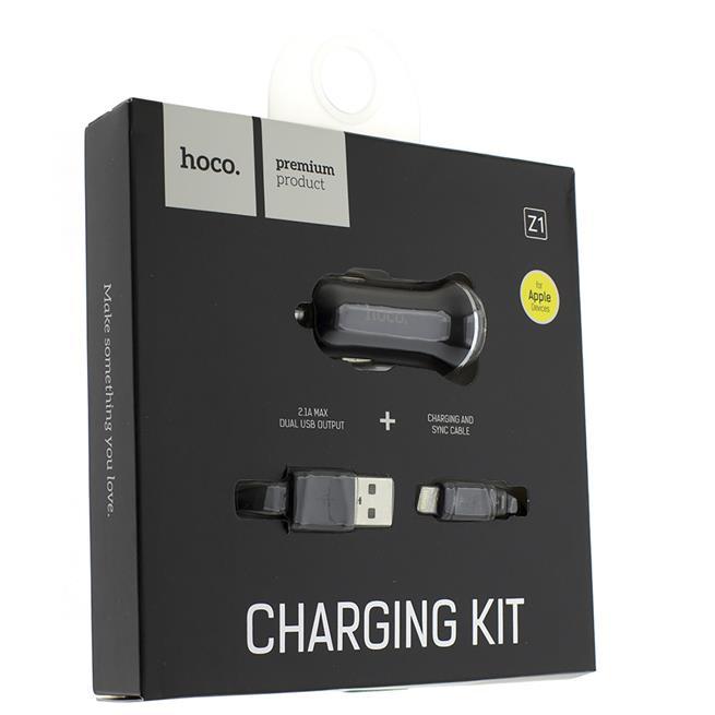Hoco Dual 2x USB KFZ Ladegerät Z1 Set mit Micro USB Kabel und Stecker Adapter 2.1A in Schwarz