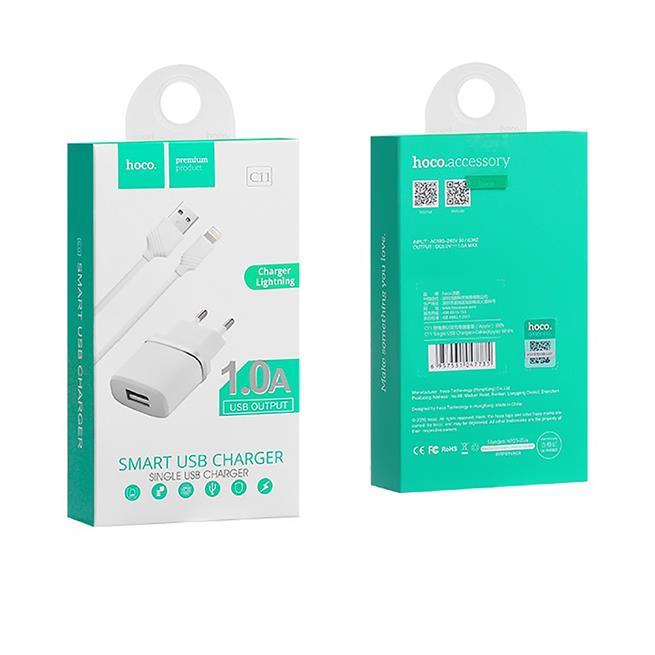 Hoco Netz-Ladegerät C11 mit Lightning Kabel Lade Stecker Adapter Reiseladegerät in Weiss