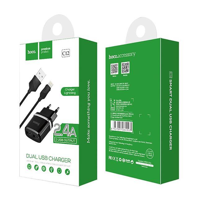 Hoco Netz-Ladegerät Dual 2x USB C12 mit Lightning Kabel 2.4A Lade Stecker Adapter Reiseladegerät